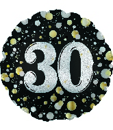 """17"""" Number 30 Silver Sparkles Foil Balloon"""