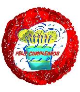 """18"""" Feliz Cumpleanos Red Cake"""