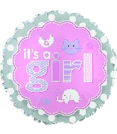 "9"" Airfill Its A Girl Baby Icons Balloon"