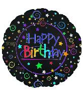 "9"" Airfill Happy Birthday Black Miniloon M15"