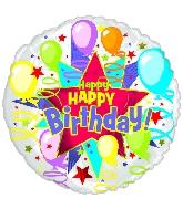 "9"" Airfill Happy Birthday Starburst Balloons M28"