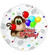 """9"""" Airfill Happy Birthday Monkey Around Birthday"""