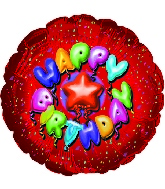 "9"" Airfill Happy Birthday Balloon Type Red M51"