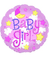 "24"" Baby Girl Clouds Foil Balloon"