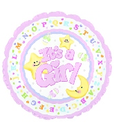 "4"" Airfill It's A Girl Moon & Stars M57"