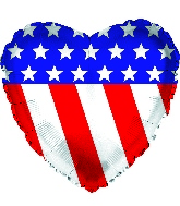 """9"""" Airfill Only Patriotic Heart Foil Balloon"""