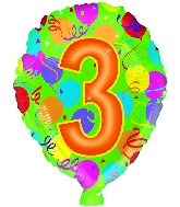 """18"""" Number Balloon Shaped """"3"""""""