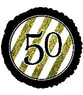 """18"""" 50 Black & Gold Glitter Foil Balloon"""