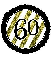 """18"""" 60 Black & Gold Glitter Foil Balloon"""