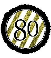 """18"""" 80 Black & Gold Glitter Foil Balloon"""