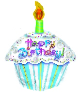 "Shaped 18"" Happy Birthday Cupcake"