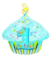 "22"" 1st Birthday Boy Cupcake Foil Balloon"