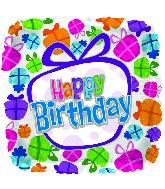"""18"""" Presents Happy Birthday Square"""
