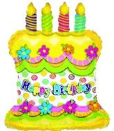 "25"" Happy Birthday Cake Yellow"