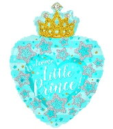 "24"" Baby Boy Heart With Crown Foil Balloon"