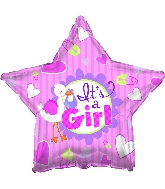 "17"" It's A Girl Stork Star Balloon"