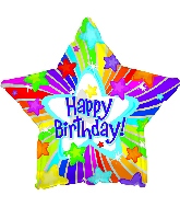 "17"" Happy Birthday Day Bright Stars Balloon"