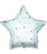 "18"" Platinum Silver Sparkle Star Foil Balloon"