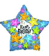 """31"""" Happy Birthday Swirls and Stars"""