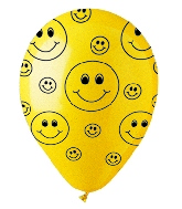 "12"" Crystal Yellow Smiley Faces  Latex 50's"