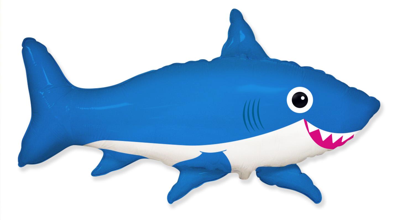 "42"" Jumbo Foil Shaped Balloon Happy Shark Blue"
