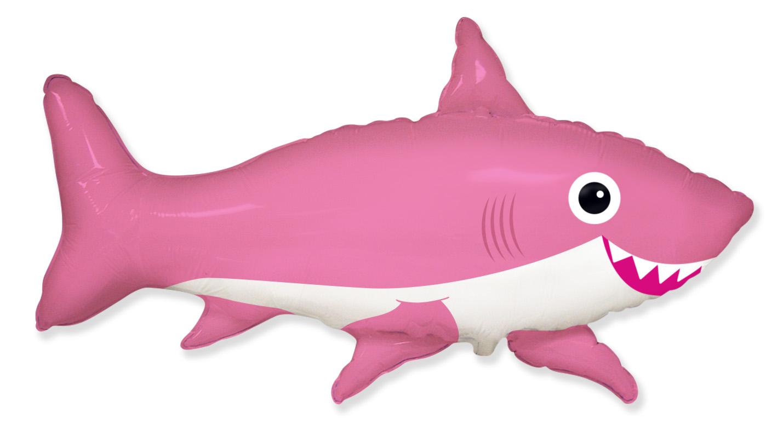 "42"" Jumbo Foil Shaped Balloon Happy Shark Pink"