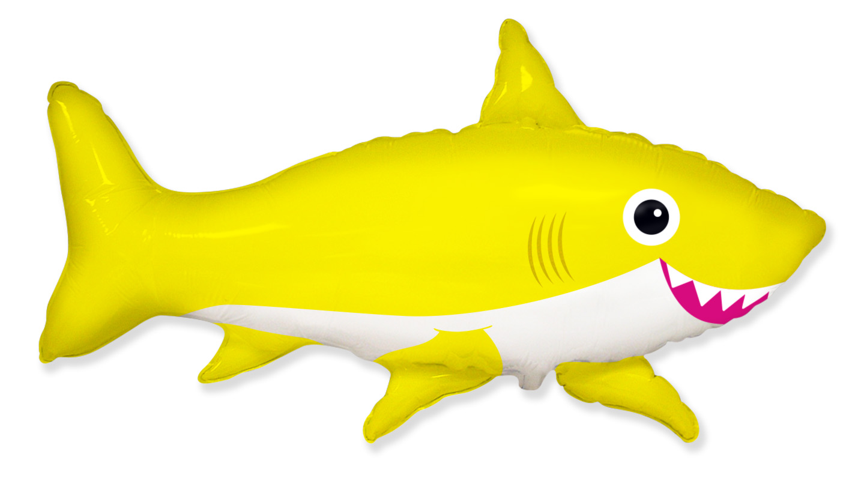 "42"" Jumbo Foil Shaped Balloon Happy Shark Yellow"