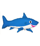 "42"" Jumbo Foil Shaped Balloon Happy Shark Blue"
