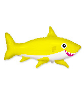 "42"" Jumbo Foil Shaped Balloon Happy Shark Yellow"