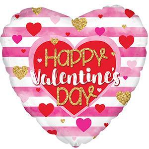 "18"" Happy Valentine's Day Pink Stripes Foil Balloon"
