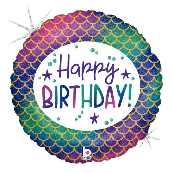 "18"" Foil Balloon Holographic Glitter Mermaid Birthday"
