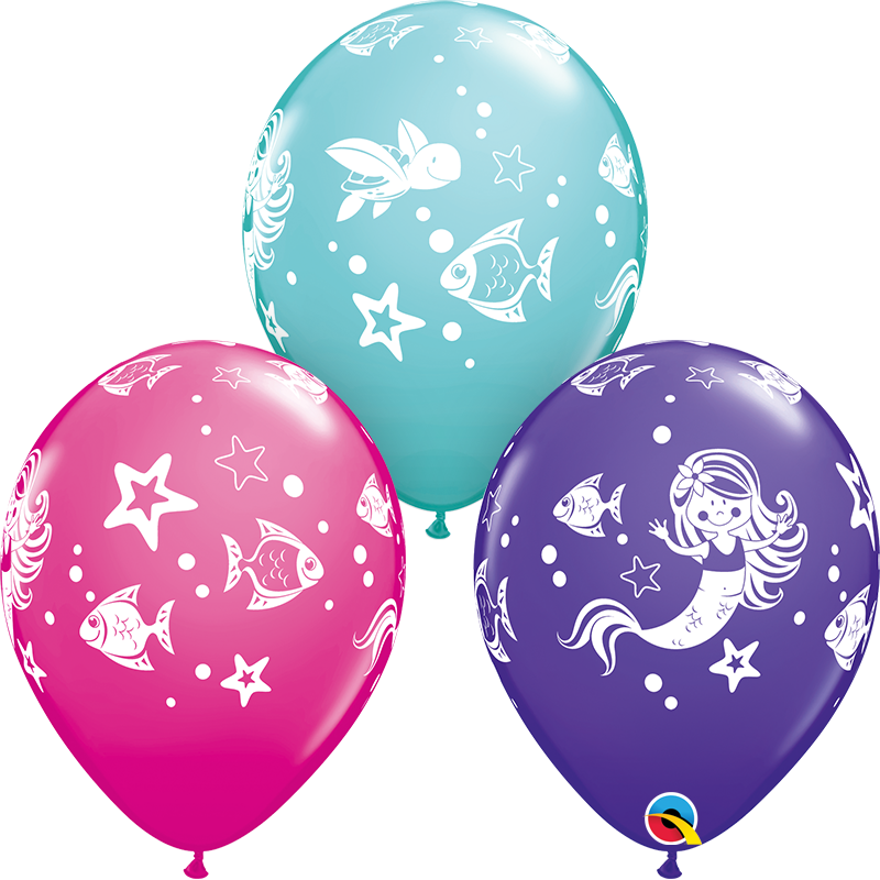 """11"""" Merry Mermaid & Friends Color 50 Count Latex Balloons:"""