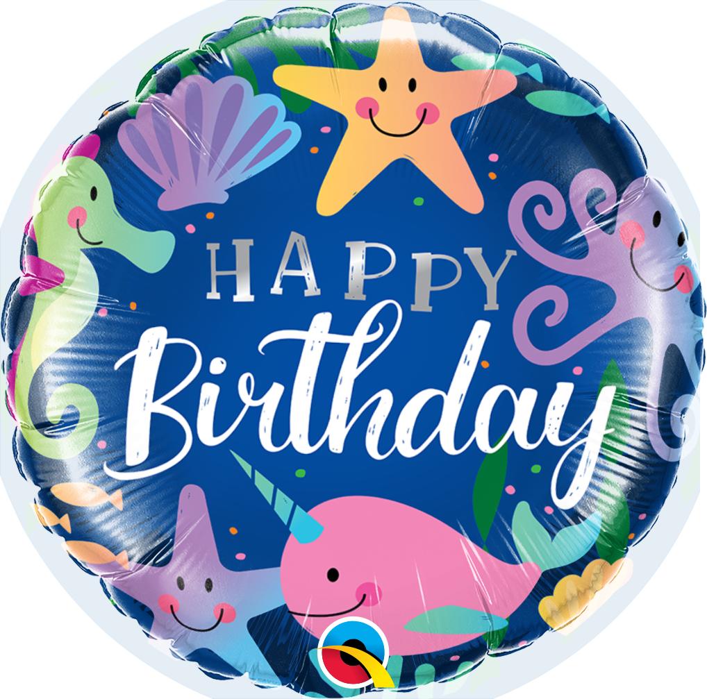 "18"" Round Birthday Fun Under The Sea Foil Balloon"