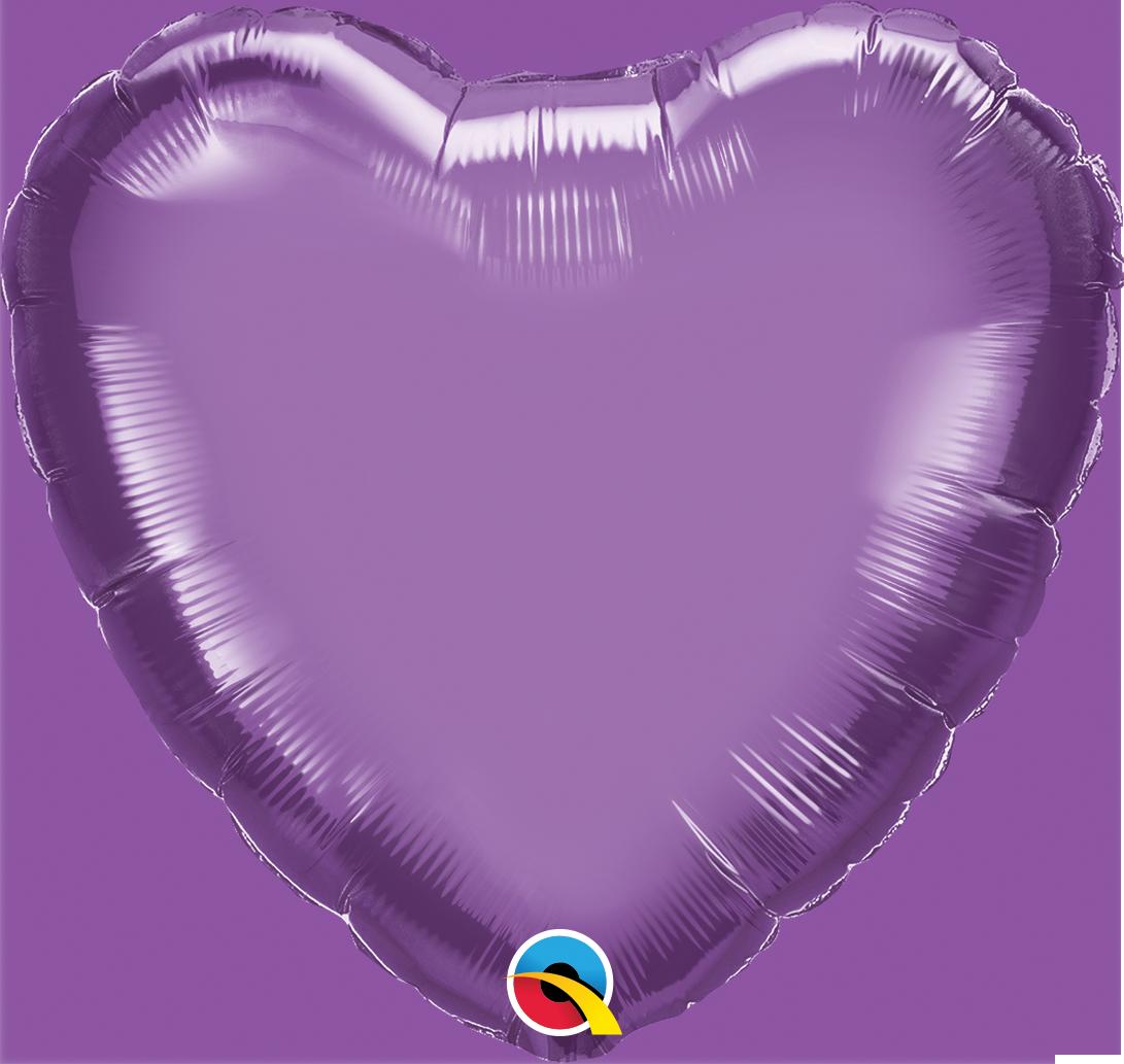 """18"""" Heart Qualatex Chrome Purple Foil Balloon"""