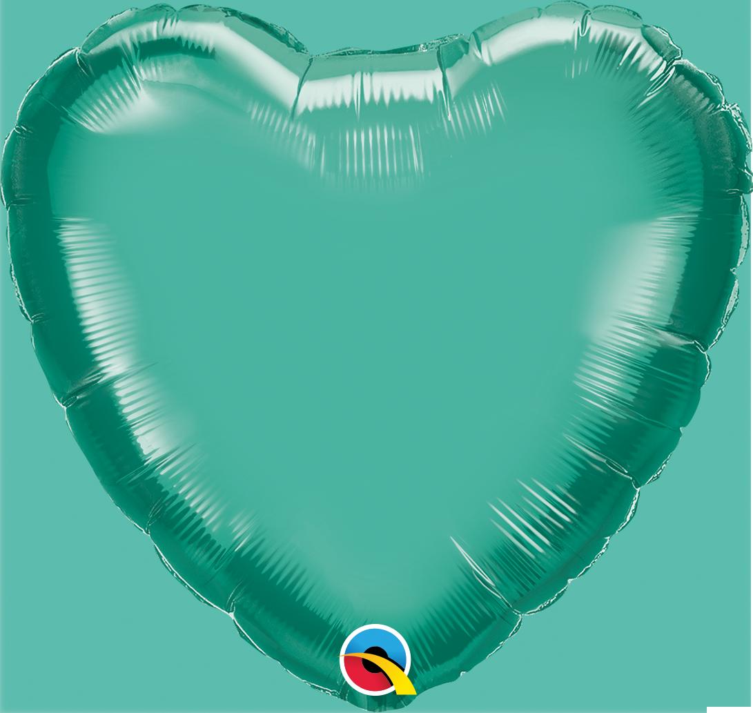 """18"""" Heart Qualatex Chrome Green Foil Balloon"""