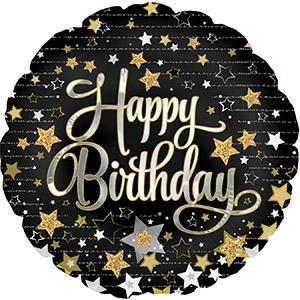 "18"" Happy Birthday Gold Stars Balloons"