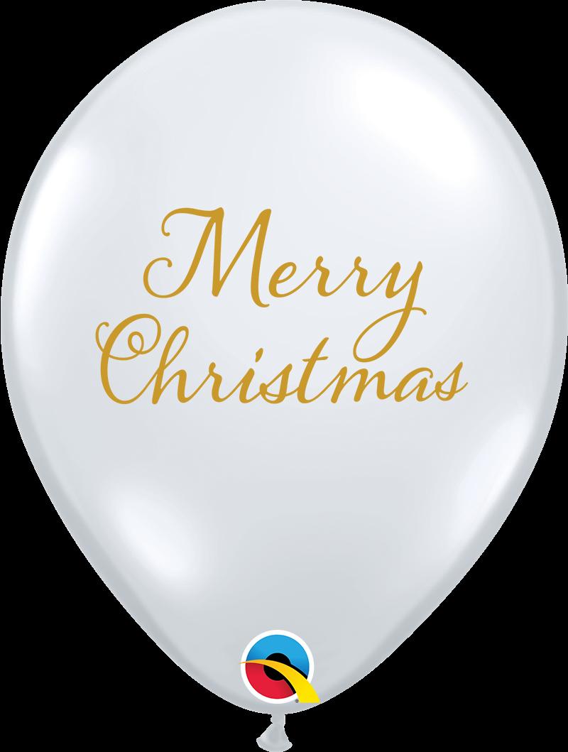 "11"" Merry Christmas Clear Latex Balloons (50 Per bag)"