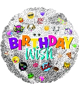 """9"""" Airfill Only Birthday Wish Emoticons Foil Balloon"""
