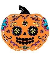 """28"""" Bright Shape Mighty Pumpkin Sugar Skull Foil Balloon"""
