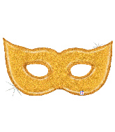 "51"" Foil Shape Holographic Gold Glitter Mask Foil Balloon"