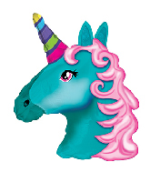"""10"""" Airfill Only Turquoise Unicorn Foil Balloon"""