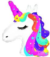 """10"""" Airfill Only Rainbow Unicorn Foil Balloon"""