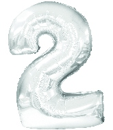 "30"" Jumbo Number ""2"" Silver Balloon Packaged"