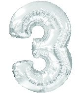 "34"" Jumbo Number #3 - Silver Foil Balloon"