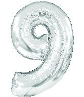 "34"" Jumbo Number #9 - Silver Foil Balloon"