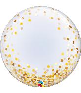 """24"""" Round Gold Confetti Dots Bubble Balloon"""