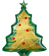 "40"" Christmas Tree Brushed Gold Foil Balloon"
