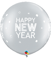 "30"" New Year Sparkle Dots Silver Latex Balloons (2 Per bag)"