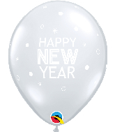 """11"""" New Year Sparkles Clear Latex Balloons (50 Per bag)"""