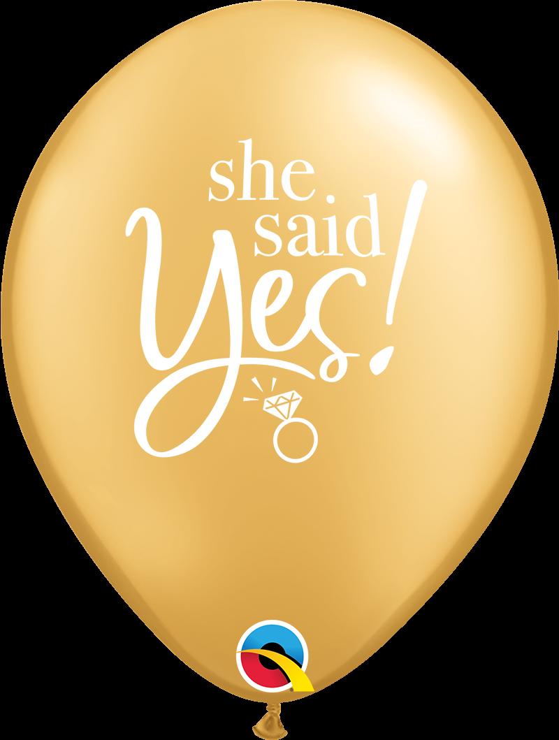 "11"" She Said Yes! Gold Latex Balloons"